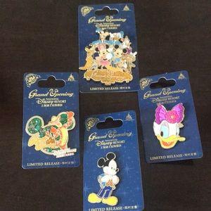 Set of four Disney pins